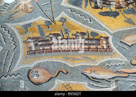Roman Floor Mosaic (c3rd-c4th) Plan or Map of Favignana Island, Sicily, from the Ancient Roman City of Ammaedara Haidra Tunisia - Stock Photo