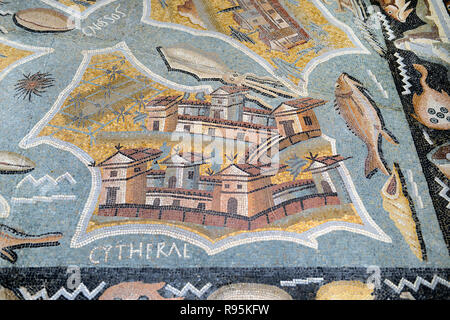 Roman Floor Mosaic (c3rd-c4th) Plan or Map of Kythira (aka Cythera or Kythera) Island, Greece, from the Ancient Roman City of Ammaedara Haidra Tunisia - Stock Photo