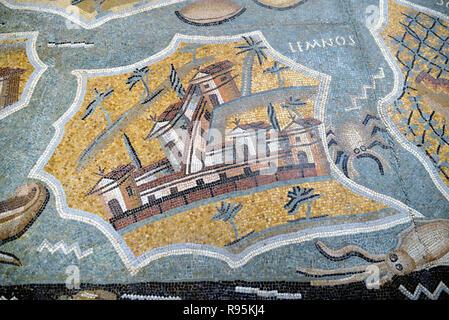 Roman Floor Mosaic (c3rd-c4th) of Lemnos Island in the Aegean Sea Greece from the Ancient Roman City of Ammaedara Haidra Tunisia - Stock Photo
