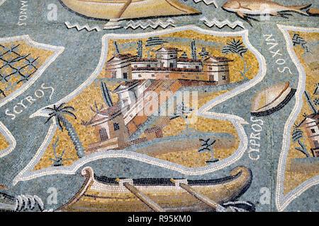 Roman Floor Mosaic (c3rd-c4th), Plan or Map of the Mediterranean Island of Cyprus, from the Ancient Roman City of Ammaedara Haidra Tunisia - Stock Photo