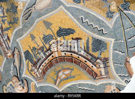 Roman Floor Mosaic (c3rd-c4th) of Naxos Island in the Aegean Sea Greece from the Ancient Roman City of Ammaedara Haidra Tunisia - Stock Photo