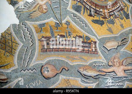 Roman Floor Mosaic (c3rd-c4th) of Favignana Island, Sicily, from the Ancient Roman City of Ammaedara Haidra Tunisia - Stock Photo