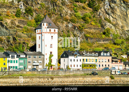 Historic city tower in Sankt Goarshausen, Germany - Stock Photo