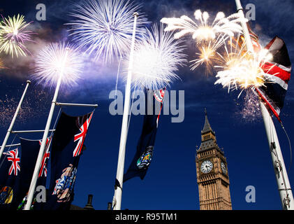 fireworks over Big Ben - new year celebrations in London, UK - Stock Photo