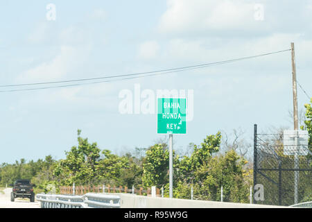 Bahia Honda Key road, street, traffic green sign on overseas highway, US1 route in Florida keys - Stock Photo