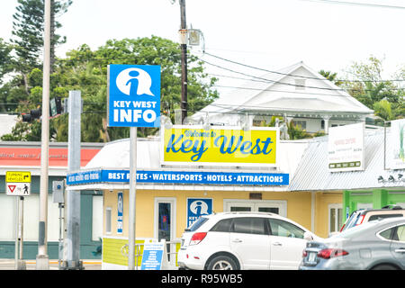 Key West, USA - May 1, 2018: Welcome to sign, billboard, information, info tourist center, kiosk, tourism bureau for booking hotels, attractions, wate - Stock Photo