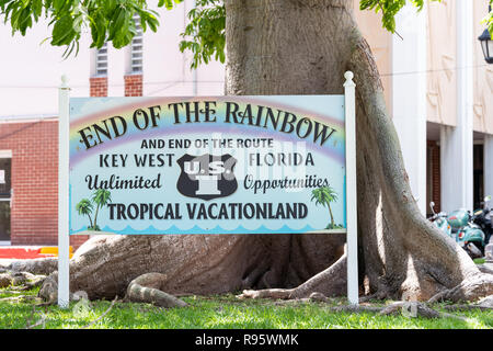 Key West, USA - May 1, 2018: Florida scenic overseas highway, US1, US one, 1, North route, road street, freeway sign in key for End of Rainbow, route, - Stock Photo