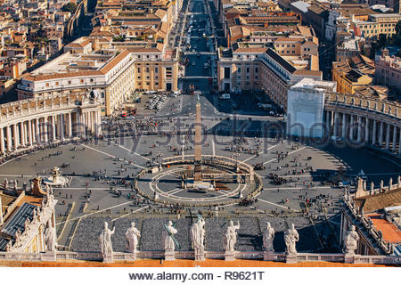 St. Peter's Square seen from St. Peter's Basilica, Vatican, Italy - Stock Photo
