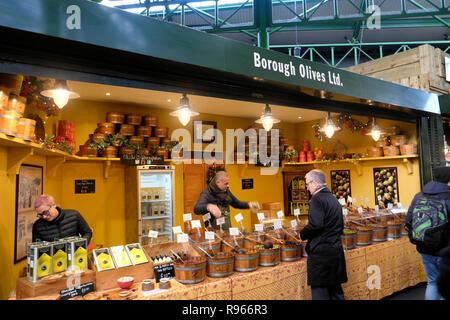 Borough Olives Ltd. olive market stall at Borough Market in London England UK  KATHY DEWITT - Stock Photo