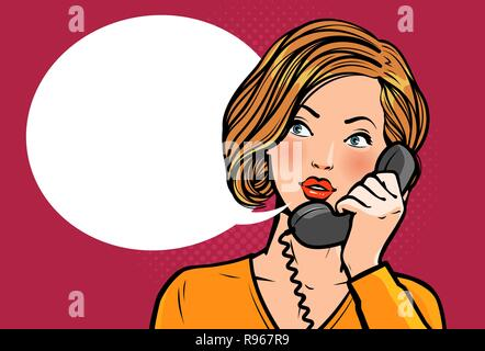 Girl or young woman talking on the phone. Telephone conversation. Vector illustration - Stock Photo
