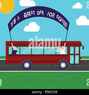 Text sign showing It S Is A Great Day For Coffee. Conceptual photo Good moment to share and have a hot beverage Two Kids Inside School Bus Holding Out - Stock Photo