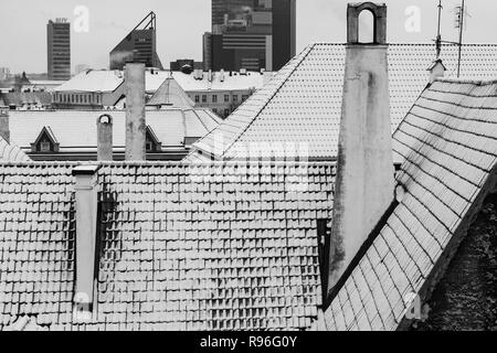 Tallinn old town roofs covered with snow in black and white - Stock Photo
