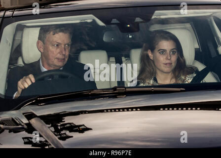 London, UK. 19th December, 2018. Members of the Royal family attend the Christmas Lunch hosted by the Queen at Buckingham Palace, London, UK. 19th December 2018 Princess Beatrice of York Credit: Jeff Gilbert/Alamy Live News - Stock Photo