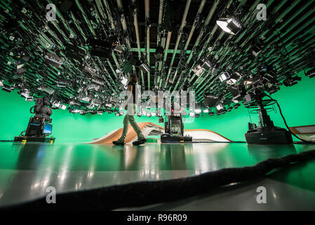 Mainz, Germany. 31st Aug, 2018. A camerawoman goes through 'Green Hell' before the live broadcast. The Second German Television (ZDF) is one of the largest public broadcasters in Europe with its headquarters in Mainz, the capital of Rhineland-Palatinate. Credit: Andreas Arnold/dpa/Alamy Live News - Stock Photo