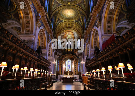 General view of the interior of St Paul's Cathedral. In December, the Choristers of St Paul's will sing to more than 20,000 people across a series of services and concerts. It is estimated that on the 23rd, 24th and 25th of December alone, more than 10,000 people will come through the doors of St Paul's for Christmas services. - Stock Photo
