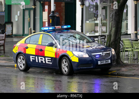 Southport, Merseyside, UK. 20th Dec, 2018. Wet & windy day as Fire command vehicle officer visits hotel on Lord Street. Credit: MediaWorldImages/Alamy Live News - Stock Photo