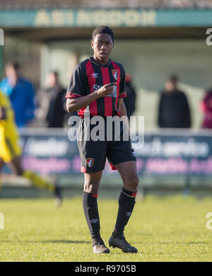 Abingdon, Oxfordshire, UK. 20th Dec 2018. Nathan Moriah-Welsh of Bournemouth U18 during the EFL Youth Alliance Under 18 South West league match between Oxford United U18 and Bournemouth U18 at Abingdon United, Northcourt Road, England on 20 December 2018. Photo by Andy Rowland. Credit: Andrew Rowland/Alamy Live News - Stock Photo
