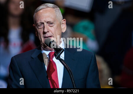 December 20, 2018: Washington, District of Columbia, U.S. - Defense Secretary Jim Mattis resigned from the Trump administration Thursday. PICTURED: December 6, 2016 - Fayetteville, North Carolina, U.S. - After being introduced as President-Elect Trump's choice for Secretary of Defense, Retired Marine Corps Gen. JAMES ''MAD DOG'' MATTIS addresses the crowd at the Crown Coliseum, part of Trump's 'Thank You' tour. Credit: Timothy L. Hale/ZUMA Wire/Alamy Live News - Stock Photo