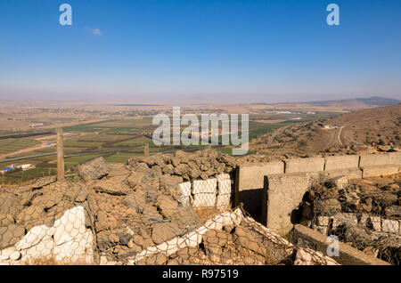 Fortifications on Mount Bental from the Yom Kippur War in Israel's Golan Heights overlooking the Israeli and Syrian countryside - Stock Photo