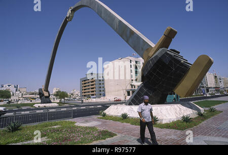 13.09.2010, Doha, Qatar - A view of the Sword Gate Monument in the capital of Qatar. - Stock Photo