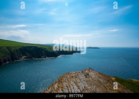 Standing tall on top of mount Mwnt over looking the Cardigan coast, Mwnt, Wales - Stock Photo