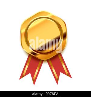 Bright golden award with red tape, glossy winner badge isolated on white - Stock Photo