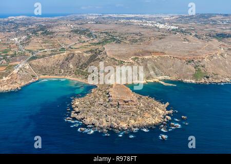 Aerial view of Ghajn Tuffieha bay beach. Mellieha (Il-Mellieha), Northern Region, Malta island. Malta from above. - Stock Photo