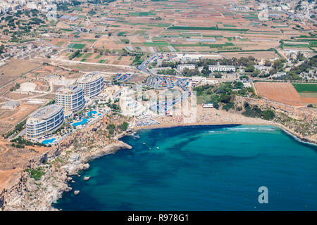 Aerial view of Golden bay beach, Ghajn Tuffieha bay. Mellieha (Il-Mellieha), Northern Region, Malta island. Malta from above. - Stock Photo