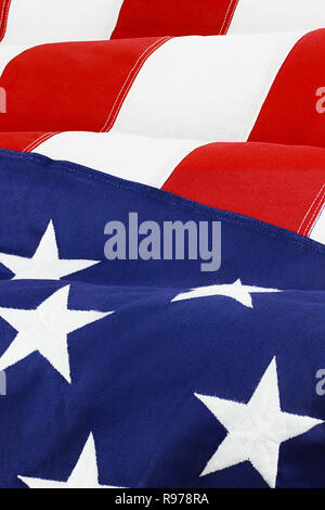 Close up of American flag waving in wind. - Stock Photo