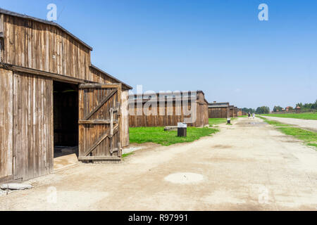 Wooden buildings in Auschwitz Birkenau museum, which was used as German concentration camp, Poland - Stock Photo