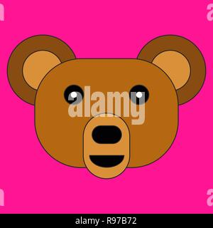 Head of a bear in cartoon flat style. Vector illustration on color background - Stock Photo