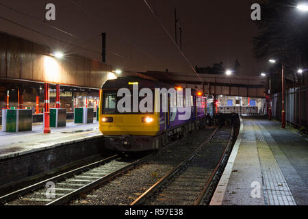 Arriva Northern rail class 142 pacer train 142091 at Lancaster with a local train to Morecambe - Stock Photo