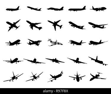 Black silhouettes of planes on a white background - Stock Photo