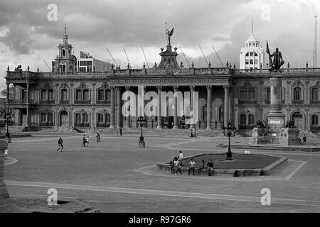 MONTERREY, NL/MEXICO - NOV 10, 2003: View of the Macroplaza and the Governor's palace on the background - Stock Photo