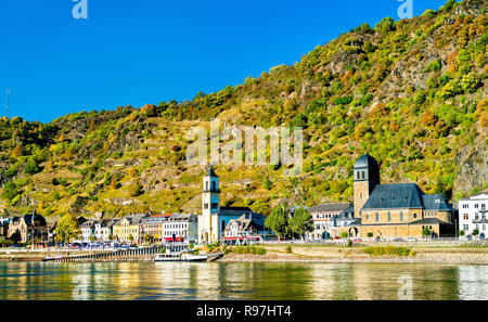 The Protestant and St. Johannes churches in Sankt Goarshausen, Germany - Stock Photo
