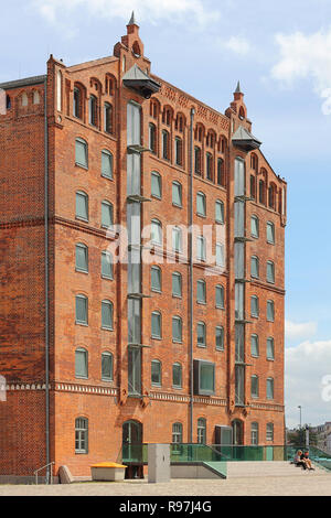 Former storehouse in the old harbour in Wismar, Germany - Stock Photo