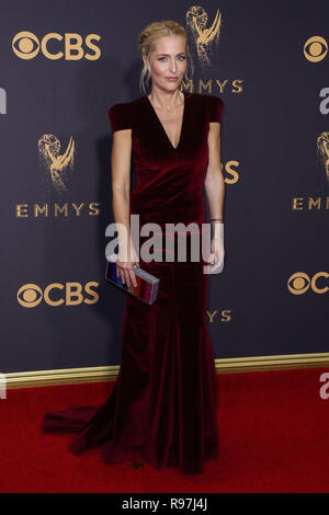 LOS ANGELES, CA, USA - SEPTEMBER 17: Gillian Anderson arrives at the 69th Annual Primetime Emmy Awards held at Microsoft Theater at L.A. Live on September 17, 2017 in Los Angeles, California, United States. (Photo by Xavier Collin/Image Press Agency) - Stock Photo