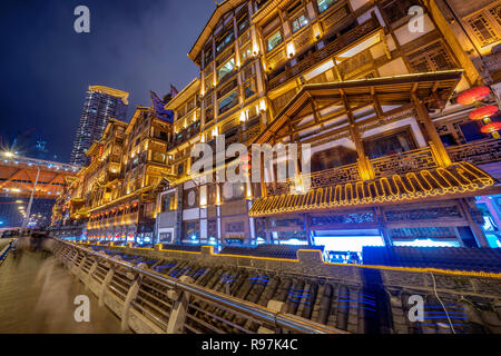 Traditional Chinese architecture of Hongyadong at night in Chongqing