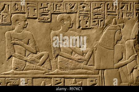 Ptahmes - Ptahmose  sacrifice; godimestone Dimensions: 110 x 129 x 20 cm (43 5/16 x 50 13/16 x 7 7/8 in.); c. 400 kg Period: New Empire; 19th Dynasty; Ramses I.Egypt, Egyptian. - Stock Photo