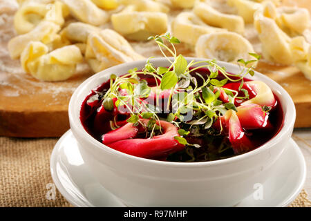 Borsch with noodles, traditional Ukrainian beetroot soup - Stock Photo
