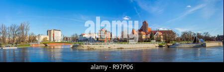 Church of the Blessed Virgin on the Piasek island in Wroclaw, Silesia, Poland. Panorama shot - Stock Photo