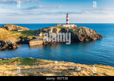 The Eilean Glas Lighthouse on the Isle of Scalpay, a small island connected by a bridge to the Isle of Harris in the Outer hebrides of Scotland - Stock Photo