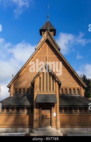 Norwegian temple Wang in Karpacz, Poland. It was built in the twelfth century in Norway - Stock Photo