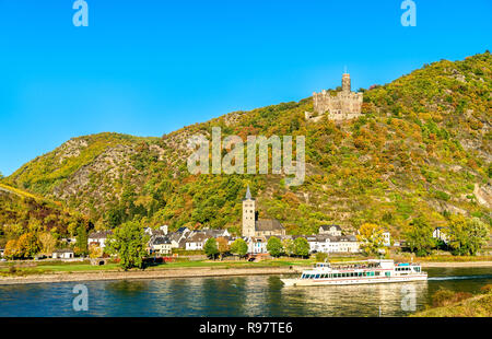 Maus Castle above the village of Wellmich in Germany - Stock Photo