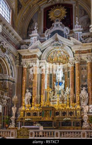 Naples, Italy - December 2, 2017: Gesu Nuovo (Italian: New Jesus) church interior in Naples, Italy - Stock Photo