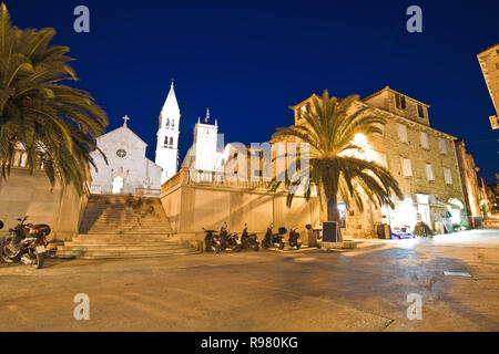 Town of Supetar on Brac island evening view, Dalmatia, Croatia - Stock Photo