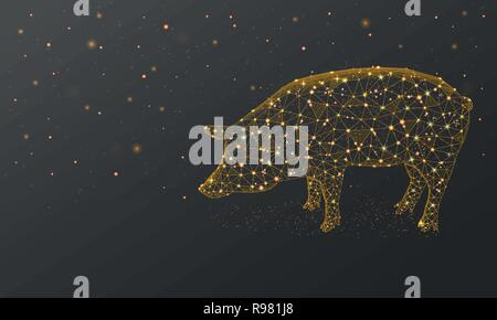 Gold Pig, New Year illustration made by points and lines, polygonal, Low poly holiday background, animal abstract design illustration - Stock Photo