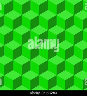 Volume texture made from green cubes. 3d geometric pattern. Vector illustration. Abstract geometric background with cubes. - Stock Photo