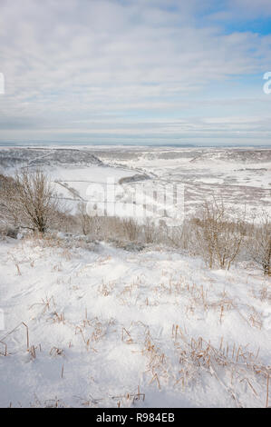 Heavy snow over the Hole of Horcum, a natural depression, in the North York Moors in winter near Goathland, Yorkshire, UK. - Stock Photo