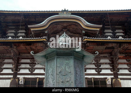 Exterior gate of Todaiji, the world's largest wooden building and a UNESCO World Heritage Site in Nara, Japan. - Stock Photo